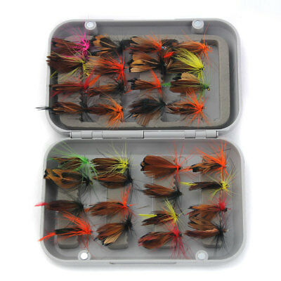32pcs Mixed Dry Trout Fly Fishing Flies Lure Hook + Box