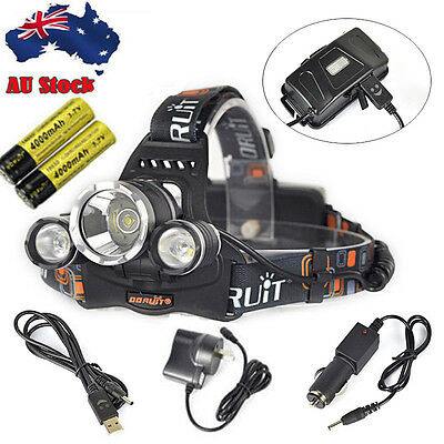 Ultra Bright 13000lm 3XXM-T6 LED Headlamp USB Rechargeable Head Torch 2X18650 AU