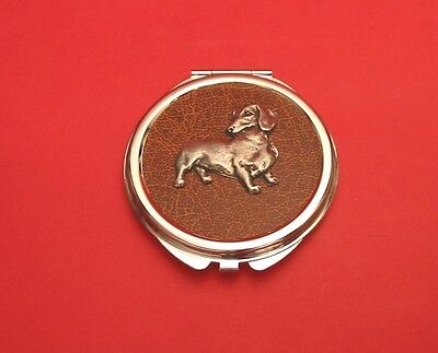 Dachshund Pewter on Motif Brown Faux Leather Top Compact Mirror Mother Gift