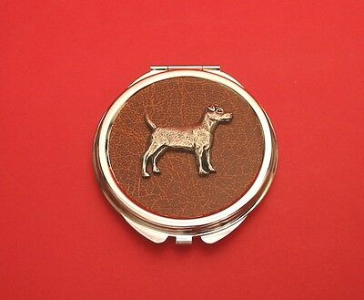 Patterdale Terrier Motif on Brown Faux Leather Top Compact Mirror Mother Gift
