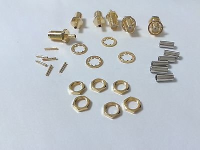 1000pcs Gold plated SMA Female Crimp adapter for Coaxial RG174 RG178 RG316
