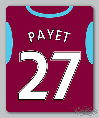 WEST HAM themed MOUSEMAT - Personalised mouse mat pad 16/17 football shirt style