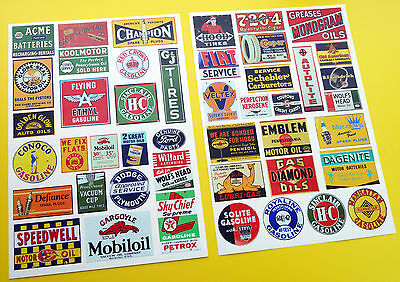 Model Railway G SCALE USA GAS OIL & MOTOR THEME SIGNS POSTERS stickers decals