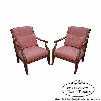 Quality Pair of French Empire Regency Style Fauteuils Arm Chairs