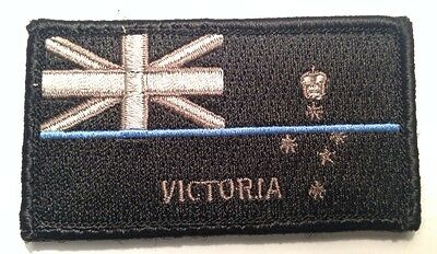 VIC Police Patch, State Flag, Thin Blue Line, Hook Rear, Law Enforcement,TBL