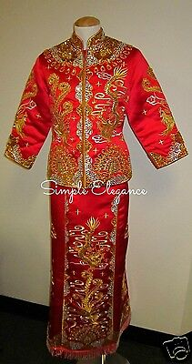 Chinese Style Wedding Tea Ceremony Phoenix Dragon 2-pc Kuan Kua Dress