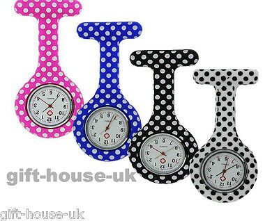 Nurse Watch Polka Dot Pattern Silicone Brooch Tunic Fob Watch NHS FREE BATTERY