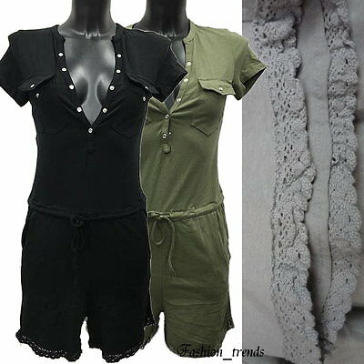 Italy Neckholder Overall Push Up Business Netz Hotpants Shorts Jumpsuit*34 36 38