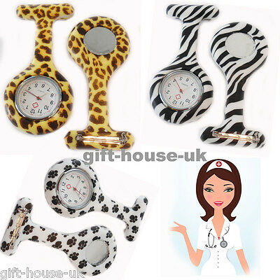 Animal Print Nurse Watches  Silicone Brooch Tunic Fob Watch With FREE BATTERY