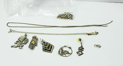 Lot of Jewelry For Reuse or Repair Some Sterling Pendent Beads Earrings Necklace
