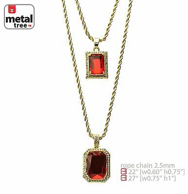 "14k Gold Plated Double Red Ruby 22""&27"" Combo Pendant Chain Necklace MHC 214 G"