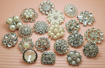 20 Mixed Clear Glass Rhinestone Silver Metal Shank Buttons~Great Price!