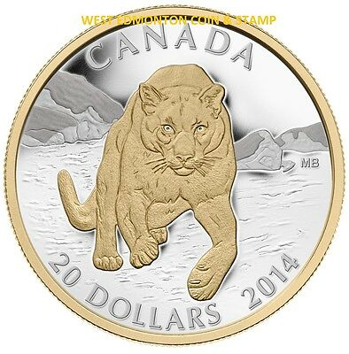2014 $20 Fine Silver Coin Cougar: Pouncing In The Snow
