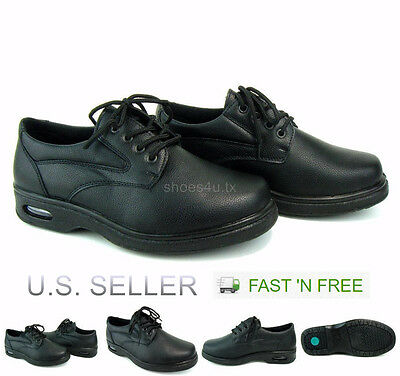 Men's Work Shoes Restaurant Kitchen Oil Resistant Non-Slip Lace Black Lace Up