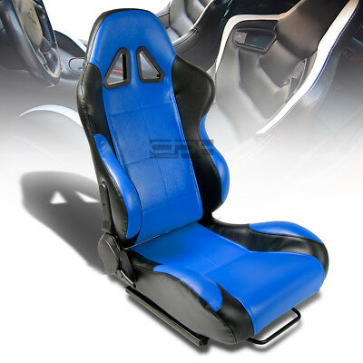 1 X Blue/black Pvc Leather Sports Racing Seats+Universal Sliders Passenger Side