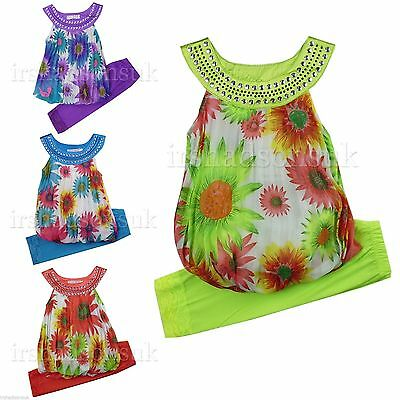 New Girls Summer Outfit Floral Leggings Dress Set Kids Dresses Age 2 - 12 Years