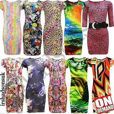Girls Printed Comic Bodycon Midi Stylish Dresses 2 3 4 5 6 7 8 9 10 11 12 13 Yr