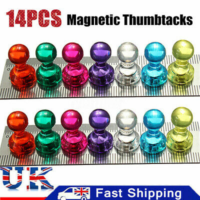14X N35 Strong Nickel Noticeboard Skittle Men Pin Magnets Whiteboard Thumbtacks
