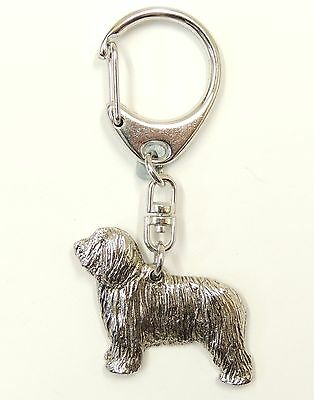 Bearded Collie  Silver Keyring