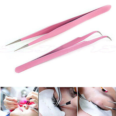 2X LashArt Straight Vetus Curved Fine Point Pair Tweezers For Eyelash Extension