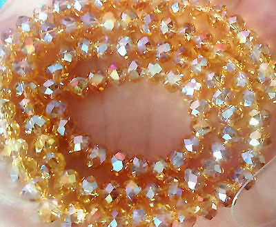 100 pcs RONDELLE FACETED GLASS CRYSTAL BEADS 6 mm Gold