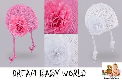 100% Cotton GIRLS Knitted TIE UP hat SPRING  size 3 - 12 months BABY GIRL New
