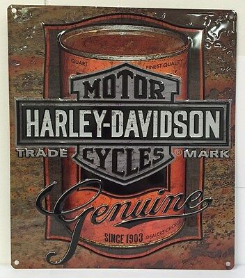Ande Rooney HARLEY DAVIDSON OIL CAN LABEL Tin HD Motorcycle Garage Man Cave Sign