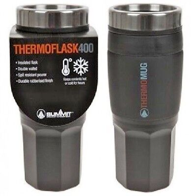 SUMMIT INSULATED THERMAL TRAVEL COFFEE MUG CUP FLASK REMOVEABLE LID 400ml BLACK