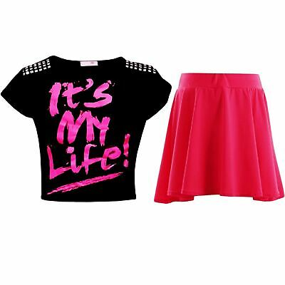 "New Kids Girls ""IT'S MY LIFE !"" Crop Top & Fashion Skater Skirt Set 7-13 Years"