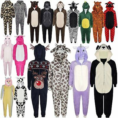 Kids Girls Boys Soft Fluffy Animal Monkey Gorilla Leopard Skull Onesie Costume