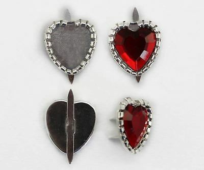 15mm Heart Jewel Brads Settings with 2 Prongs - 25 Pieces