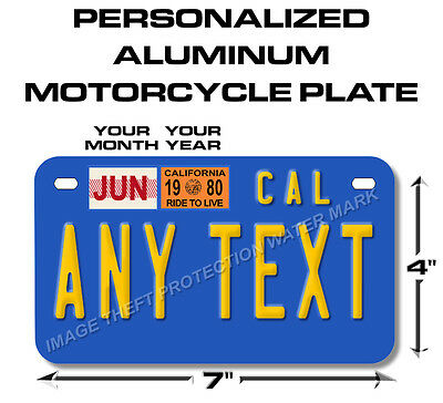 California Any Text Custom Personalized State Motorcycle License Plate Tag Blue