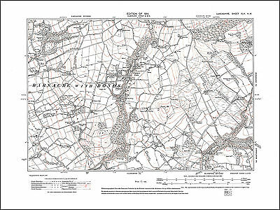 Lancashire in 1914 Old map of Clitheroe 47SW repro