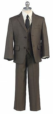 Olive Boys Toddler Kid Teen 5-PC Wedding Formal Party Suit Tuxedo w/ Vest 2-20
