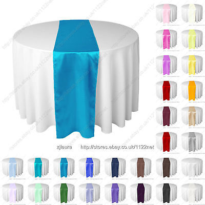 Red Black Purple silver gold pink blue thick satin wedding table runner runners