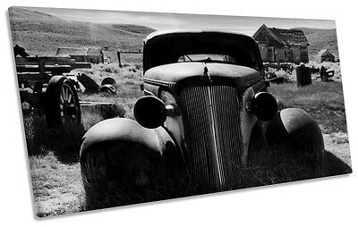 Rusty Old Truck Car Barn Find B&W PANORAMIC CANVAS WALL ART Print Picture