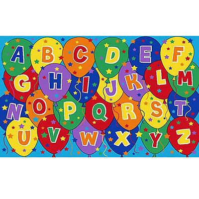 Kids Children School Classroom Abc Balloons 5' X 7' Large Educational Gel Rug