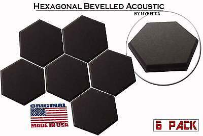 [6 PACK] Acoustic 2-inch Hexagon (Hexagonal) Tiles Soundproofing Wall Panels