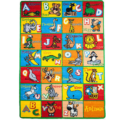 KIDS CHILDREN SCHOOL Alphabet ANIMALS EDUCATIONAL NON SKID GEL RUG 3 x 5
