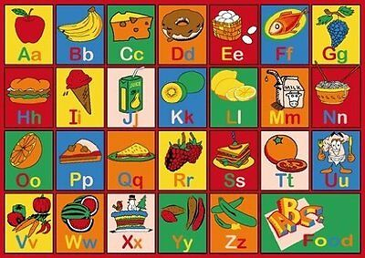 "Kids Children ABC FOOD Print Educational 39"" x 58"" Area Rug Non Skid"