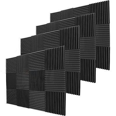 """48 Pack Acoustic Wedge Studio Soundproofing Foam Wall Tiles 12"""" X 12"""" X 2"""""""