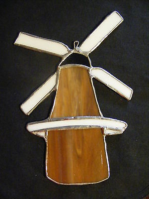 """Large Stained Glass Suncatcher Windmill Brown and White 8.5"""" x 5.5"""" __C3"""