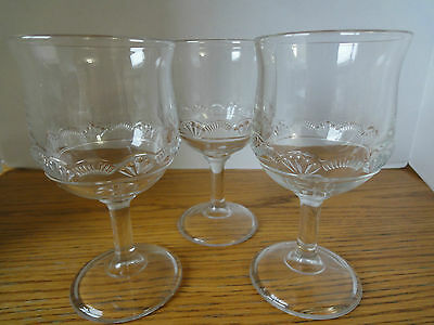 """Goblets, Pressed Glass Early Canadian/EAPG Set of three (3) Goblets 6-1/4"""" high"""