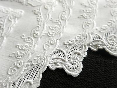 EXQUISITE WHITEWORK 8 Vintage Linen Cocktail Napkins Madeira Hand Embroidery