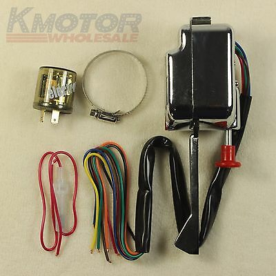 PerfecTech Chrome Universal Street Hot Rod Turn Signal Switch For Ford GM With Flasher 12V