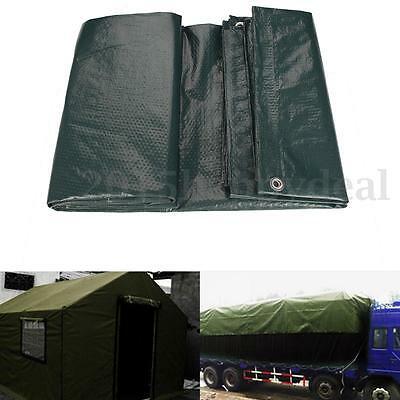 Waterproof Tarpaulin Tarp Ground Sheet Camping Lightweight Dark Green Heavyduty