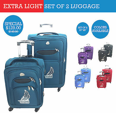 Travel Luggage Trolley Set of 2 with 4 Wheels. Extra Light in 5 colors