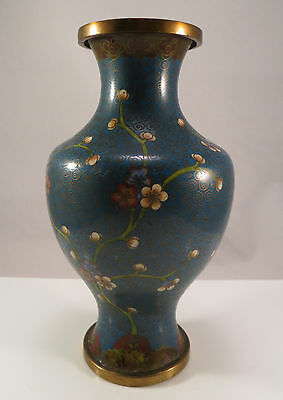 "Chinese Cloisonne Blue Vase Plum Blossoms Flowers China 6 1/4"" tall"