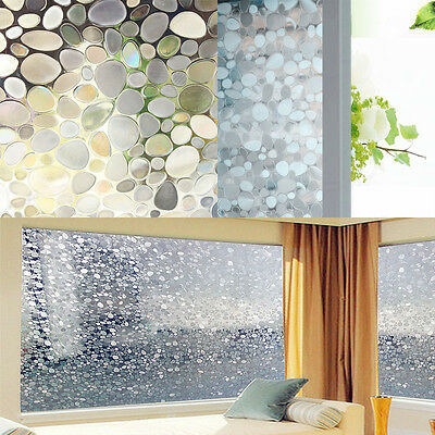 Static Cling Removable Pebble Glass Sticker Windows Film Cover Adhesive 45x100cm