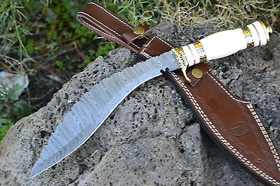 WILD Hand Made Damascus Steel Hunting Knife  *** DAMASCUS KUKRI ***